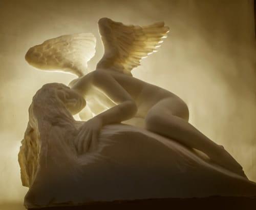 Sculptures by John Fisher Sculptures seen at Fisher-Oppenheimer Studios, Fort Bragg - Fallen Angel