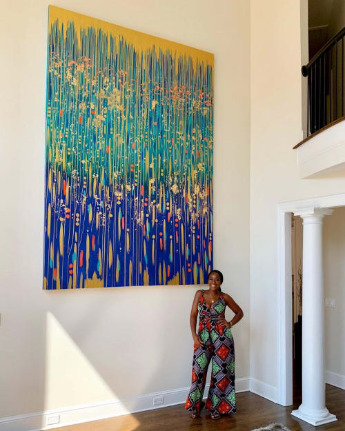 """Paintings by Dunnie The Artist seen at Private Residence, Atlanta - """"Royal Legacy Rain"""""""