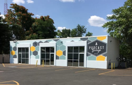 Murals by Need Signs Will Paint seen at PRX Podcast Garage, Boston - Podcast