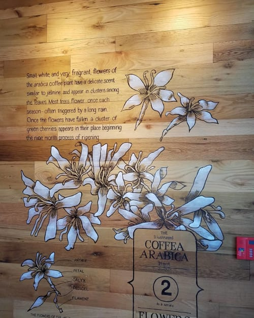 Murals by Cindy Fletcher-Holden seen at Starbucks, Warminster - Indoor Mural