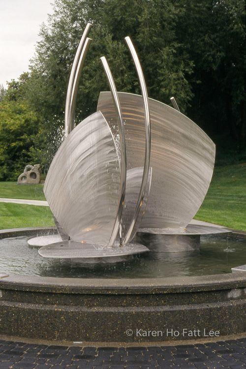 Public Sculptures by Karen Ho Fatt seen at St. Albert, St. Albert - Butterfly Sails Fountain