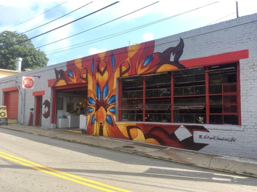 Street Murals by Kathryn Crawford Art seen at North Carolina Glass Center, Asheville - Glass Blowing