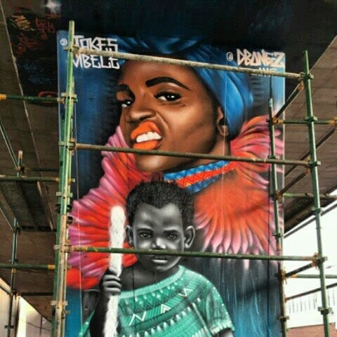 Murals by Jakes Mbele seen at Private Residence, Johannesburg - Back to the city international hip hop festival