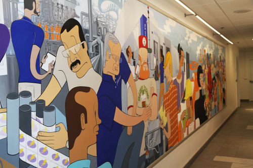 Murals by Gregory Gove seen at Krones AG, Franklin, WI, Franklin - Krones AG Headquarters Mural