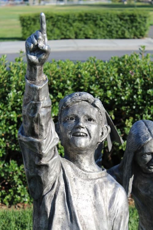 "Public Sculptures by Ryan Carrington seen at Guadalupe River Trail, San Jose - ""Children at Play"" Sculpture Walk"