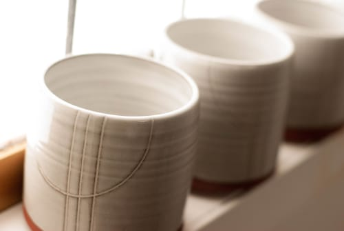 Cups by Jumping Creek Pottery seen at Private Residence, Revelstoke - Elevation series