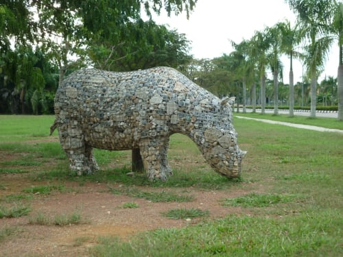 Public Sculptures by Roger Gaudreau seen at Muar Chung Hwa High School, Muar - The Migration of the Rhinoceros - Jui-Yen