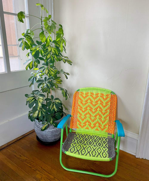 Chairs by Becca Van K seen at Private Residence, Catskill - Handwoven Upcycled Macramé Chair