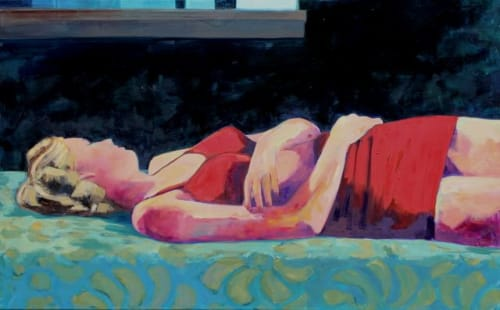 Paintings by T.S. Harris aka Tracey Sylvester Harris seen at Private Residence, San Francisco - 'Sleeping Beauty', 30x48 original oil painting