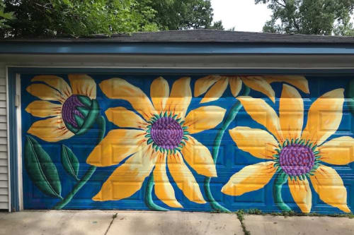 Murals by Teresa Parod seen at Private Residence, Evanston - Sunflowers