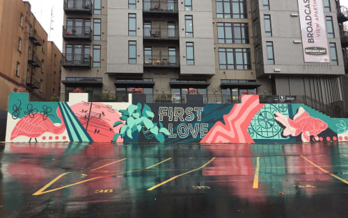 Street Murals by Sarah Robbins seen at Broadcast Apartments, Seattle - First Love