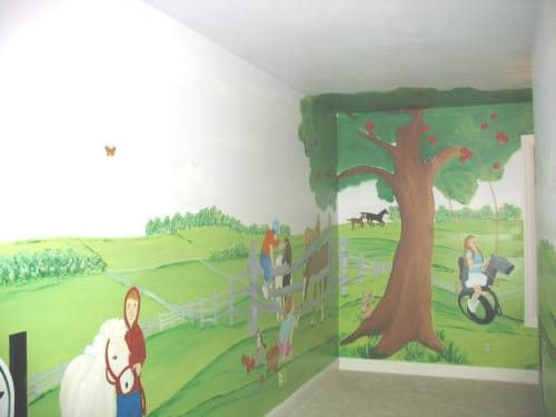 Murals by Michelle Noe seen at Private Residence, Louisville - Playroom Family Farm Mural