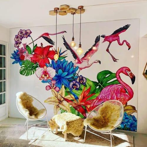 Murals by El Dios De Los Tres seen at the bliss factory, Santa Eulària des Riu - Pink Flamingos Mural