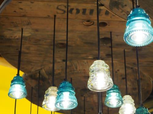 Pendants by RailroadWare Lighting & Hardware seen at KEEN Garage, Palo Alto - Insulator Light Pendant Array