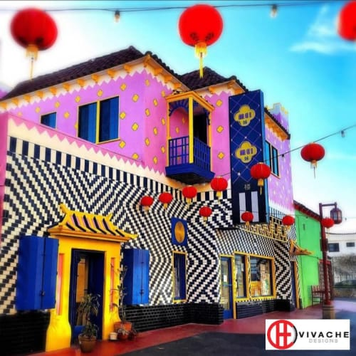 Street Murals by Vivache Designs at 434 Jung Jing Rd, Los Angeles - Chinese Liberace Building (Mei Mei Lou)