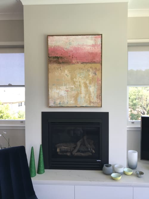 Paintings by Linda Gleeson seen at Private Residence, Northwood - Beachwalk at sunset