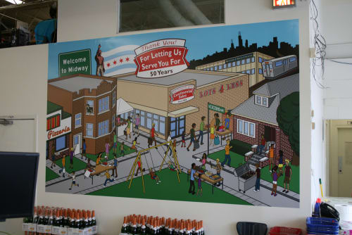 "Art & Wall Decor by Joe Mills Illustration seen at Continental Sales ""Lots 4 Less"", Chicago - Continental Sales Mural"