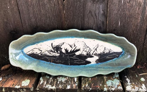 Tableware by Jeff Szarzi Pottery seen at Private Residence, Homer - Moose serving platter