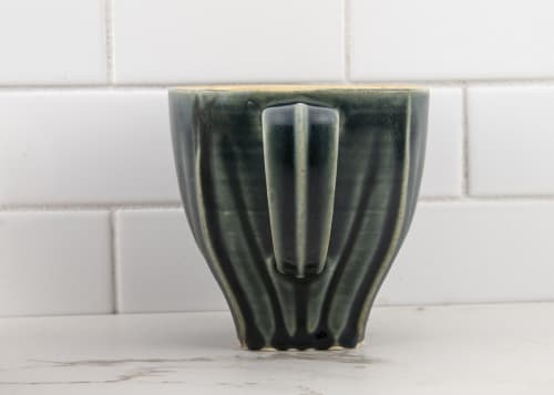 Cups by M.L. Pots seen at Creator's Studio, Borden - Draped Coffee Cup with Nightfall Grey Glaze - 003