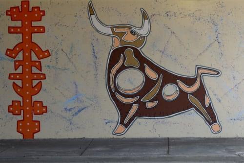 Street Murals by Tony Passero seen at 3170 North Kedzie Avenue, Chicago, IL, Chicago - Toro Totem Mural