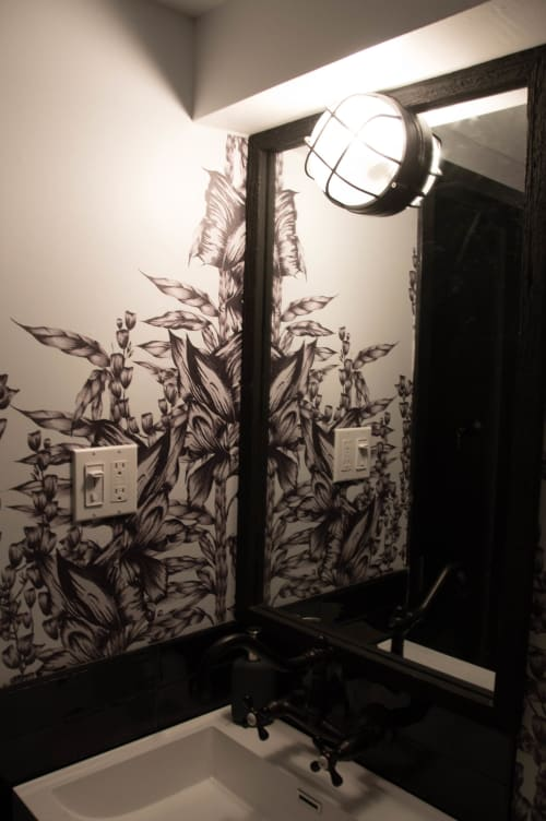 Wallpaper by Candice Kaye Design seen at Pantry Rosedale, Toronto - Custom Wallpaper