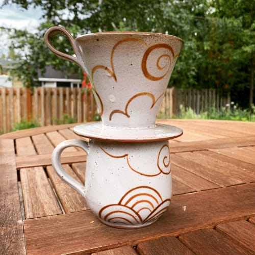 Tableware by Jennifer Fujimoto seen at Private Residence, Seattle - Handmade Ceramic Coffee Pour-Over