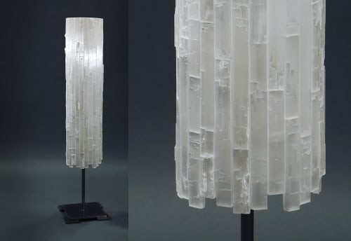 Lamps by Ron Dier Design seen at Philharmonic House of Design in Ritz cove, Orange County, California, Dana Point - Selenite Cylinder Floor Lamp