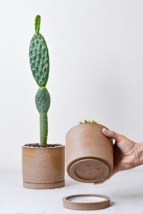 Vases & Vessels by Stone + Sparrow seen at Private Residence, Pittsburgh - Totem Planter in Brown Stoneware