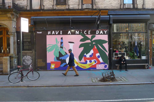 Murals by We are out of office seen at New York, New York - Have a nice day mural