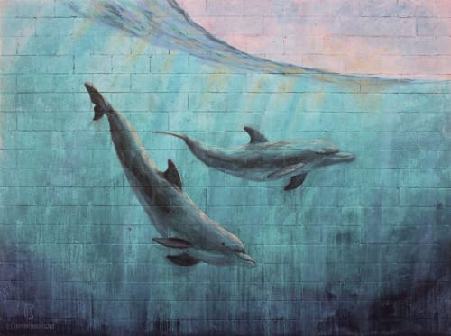 "Murals by Chapman Hamborg seen at Peterson Elementary, Huntington Beach - ""Dolphin"" mural"