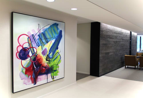 "Paintings by Pamela Staker seen at Willis Tower Skydeck, Chicago - Installation view of ""Study 1"""