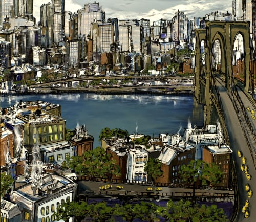 Paintings by Sue Averell Fine Art seen at Private Residence, Scottsdale - Painting of  the Brooklyn Bridge