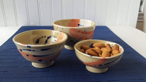"""Tableware by Orna's Pottery seen at Private Residence, Seattle, Seattle - Serving Bowls; """"Splash of Color"""" Collection"""