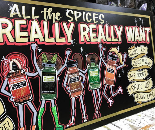 Signage by Melissa Robbins-Eugene seen at Trader Joe's, Los Angeles - All The Spices You Really Really Want