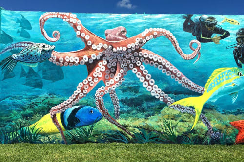 Street Murals by Murals by Georgeta (Fondos) seen at 2601 Broadway Ave, Riviera Beach - Public Art Mural - Snorkeling Trail