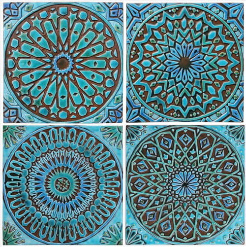 Murals by GVEGA seen at Private Residence - Wall art installation with large turquoise tiles.