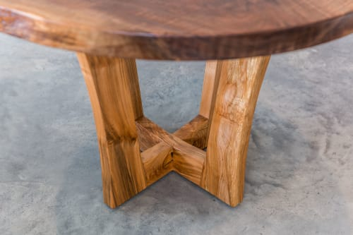 Tables by SAW Live Edge seen at SAW Live Edge Studio, Kimberley - Live Edge Black Walnut Round Dining Table | Eclipse Series | Arbutus Base |