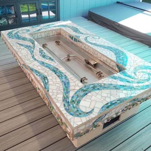 Art & Wall Decor by JK Mosaic, LLC seen at Private Residence, Olympia - Mosaic Fire Pit