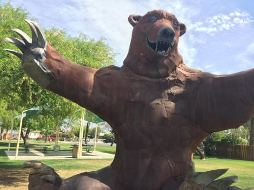 "Public Sculptures by Don Kennell seen at Shady Lane Park, Coachella - ""Big Bear"""