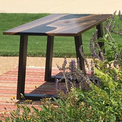 Tables by Grain & Gauge seen at Private Residence, McKinney - Walnut Berns Table