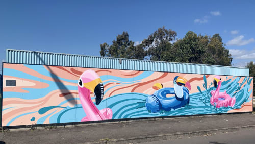 Murals by All City Walls seen at Wellington Street, Ormiston - Wind-Sea-Free