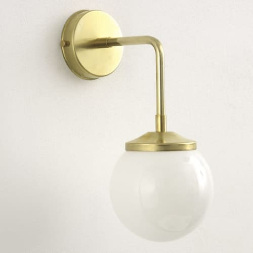 "Sconces by Spark & Bell seen at Private Residence, Brighton - ""Bold as Brass"" Wall Light with Opal Glass Shade"