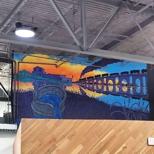 Murals by Bonus Saves (Patrick Hershberger) seen at The Foundry, Kalamazoo - Interior Mural