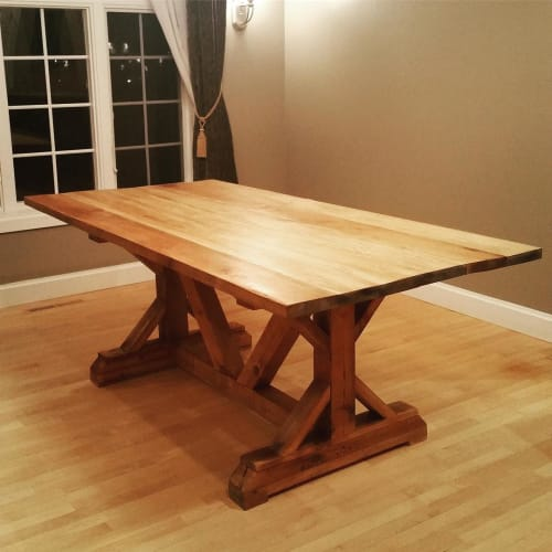 Tables by Wisconsin Farmhouse seen at Private Residence, Madison - Barnwood Table