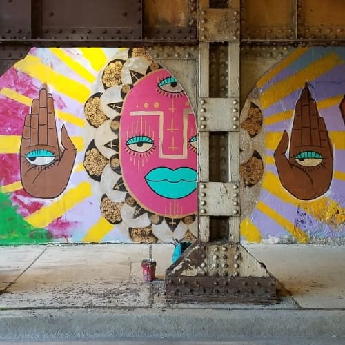Street Murals by Natalia Virafuentes seen at 1544 S Wood St, Chicago - Red Face and Hands with Eyes