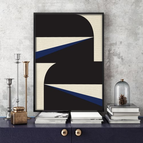 Paintings by Nicolette Atelier seen at Creator's Studio, Washington - Abstract Blue Graphic No. 1