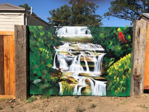 Murals by Heesco seen at Bollygum Park, Kinglake - Mural