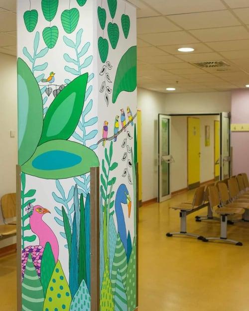 Murals by Melinda Šefčić seen at University Hospital Centre Zagreb, Zagreb - Happy Community
