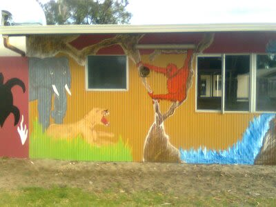 Murals by Brushstrokes Designs seen at Neerigen Brook Primary School, Armadale - Australian outback/ Safari 2012