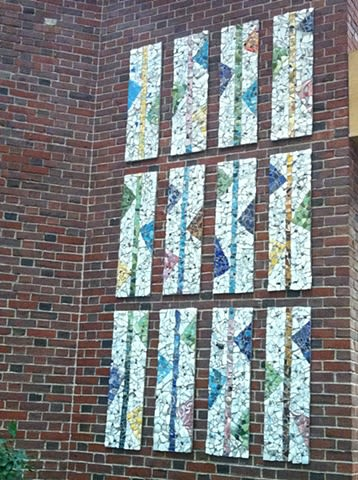 Public Mosaics by Bette Ann Libby seen at Coolidge Corner Branch Library, Brookline - Brookline Town-wide Mosaic Installation